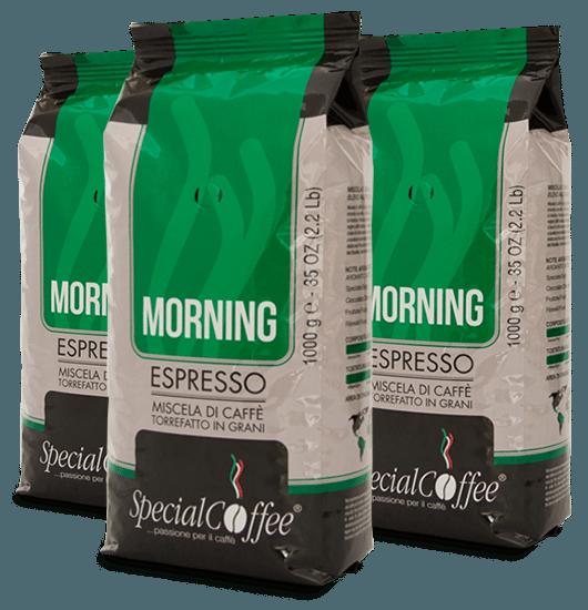 Morning: Caffè in grani per bar, vending, distribuzione automatica e ideale per il consumo a casa in confezione da 1 kg