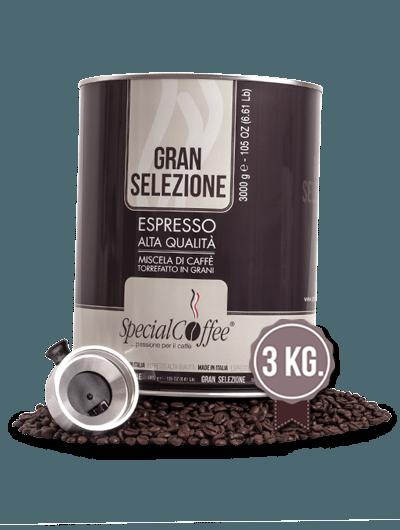 Caffè In Grani Gran Selezione 3KG - Confezione Salvafreschezza - Per Macchine Espresso Bar